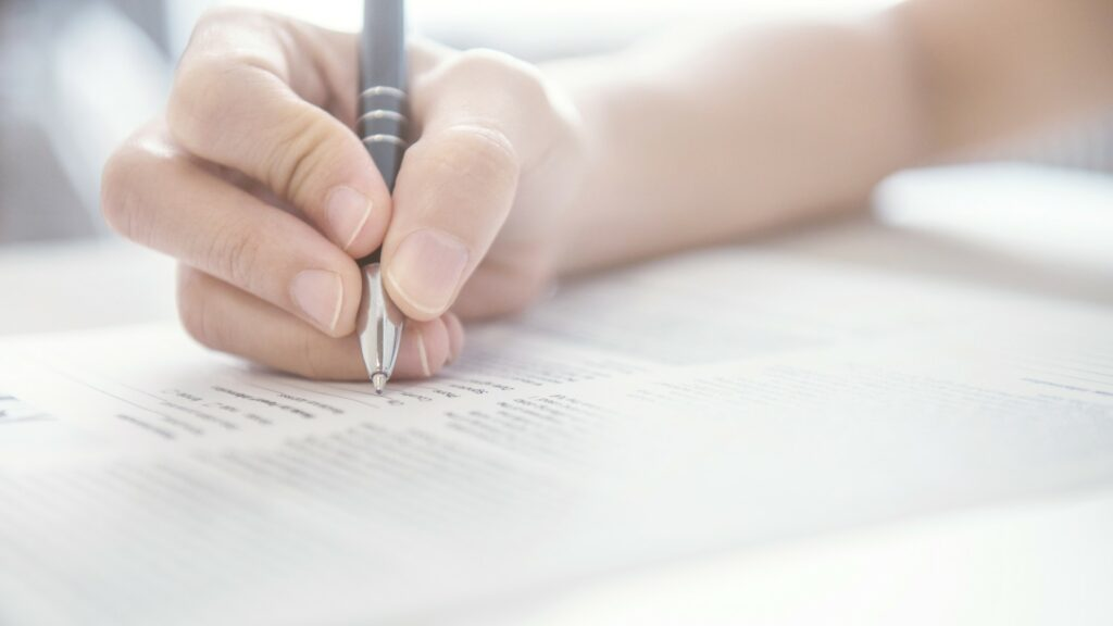 Person completing paperwork